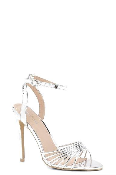 YourPrimeOutlet Damen Rosie Cage Upper Sandals - Silber - 5 D7NIxRAp