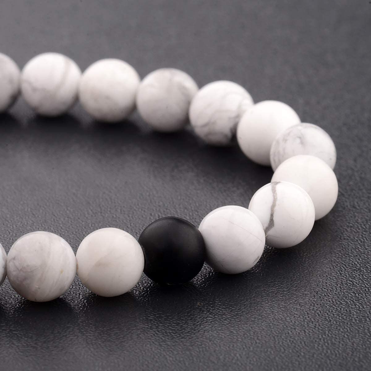 CNLQ Distance Bracelets for Lovers Couples Matching Gift Matte Agate 8mm Bead Stone