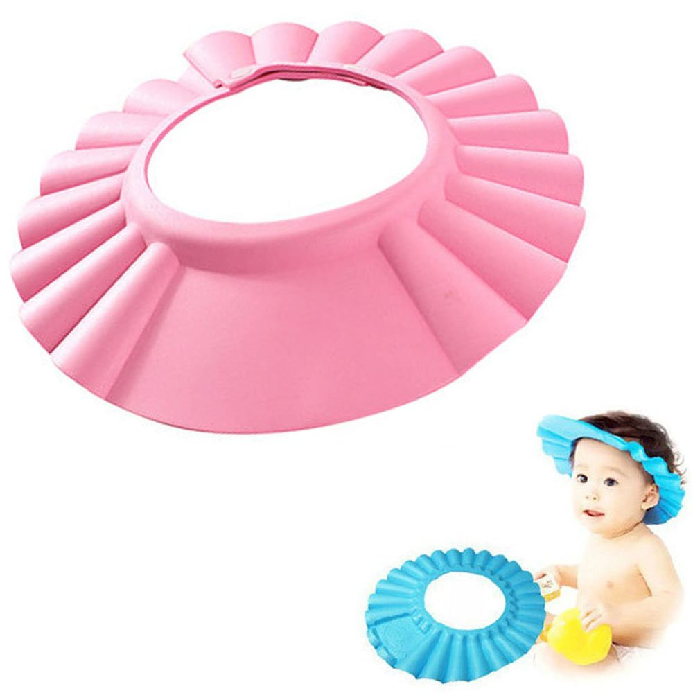 8960ea4159c Baby Shower Cap Adjustable Waterproof Safe Shampoo Protect Soft Hat Wash  Hair Shield for Baby Children Kids (Pink)  Amazon.co.uk  Baby