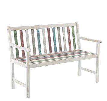 Gartenbank Alster   2 Sitzer Holzbank   Vintage Look   Weiß Bunt