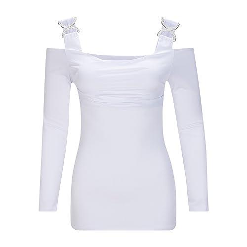 Beauty7 Camisas Mujeres Atada a la Cintura Mangas Larga Vendaje Cuello Bajo Vestido Verano Primavera...