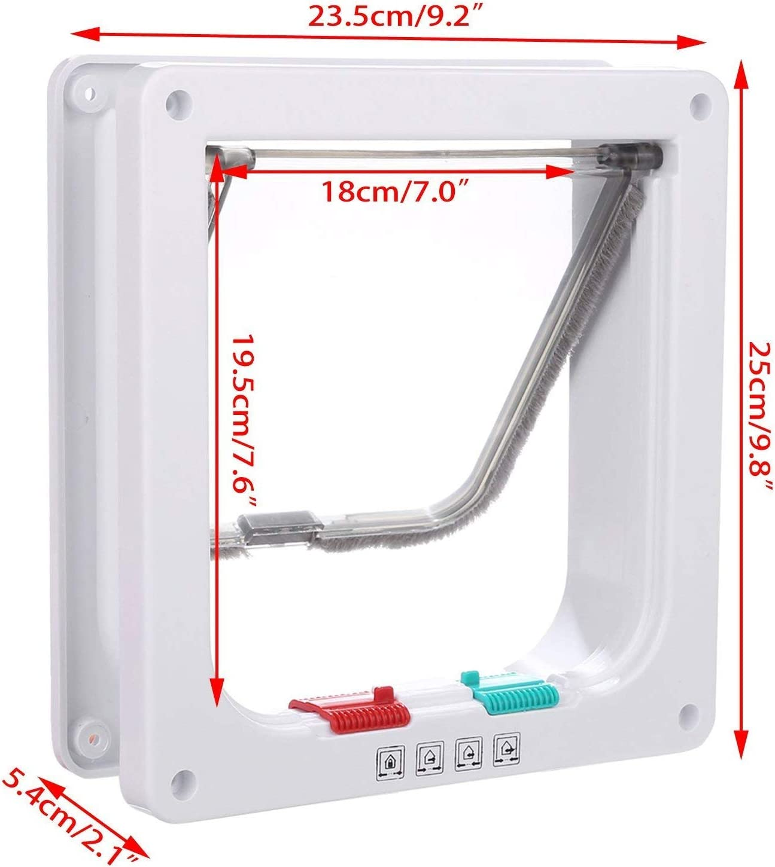 Blanco L que se instala f/ácilmente Kit de 4 puertas con solapa para gatos con cerradura de bloqueo de 4 v/ías Kit de puerta blanca para mascotas para gatos y perros peque/ños con marco telesc/ópico