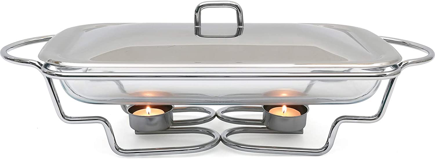 Galashield Chafing Dishes Buffet Food Warmer with Lid Stainless Steel and Oven Safe Glass Warming Tray Dish (3-Quart)
