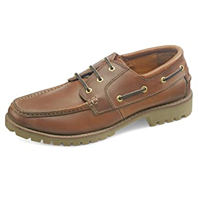 ca3fb21f3a Samuel Windsor Handmade Italian Leather Lace-up Boat Deck Shoe in Brown  With Blake Stitch  Amazon.co.uk  Clothing