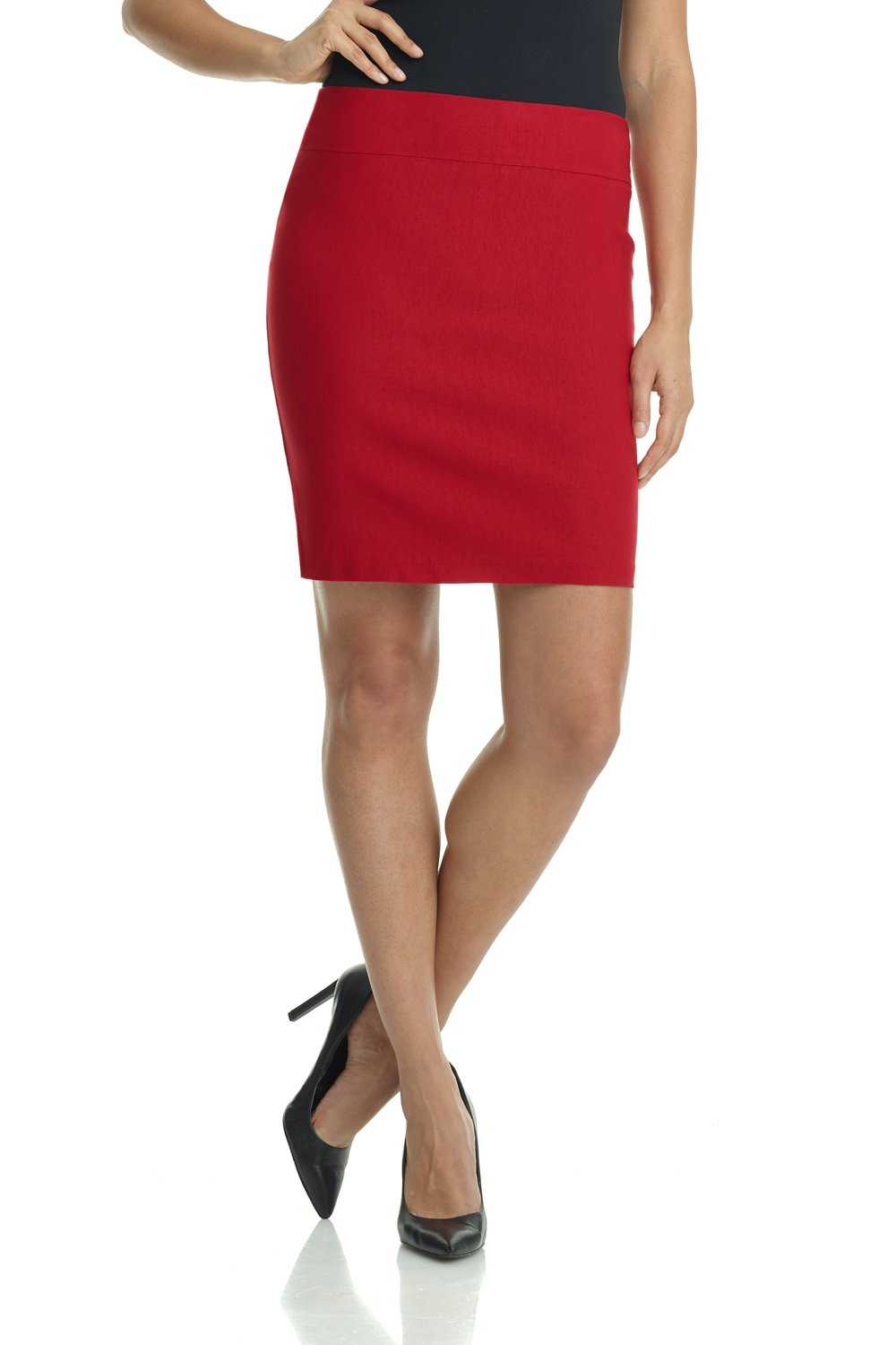 Rekucci Women's Ease in to Comfort Stretchable Above The Knee Pencil Skirt 19'' (Large,Red)