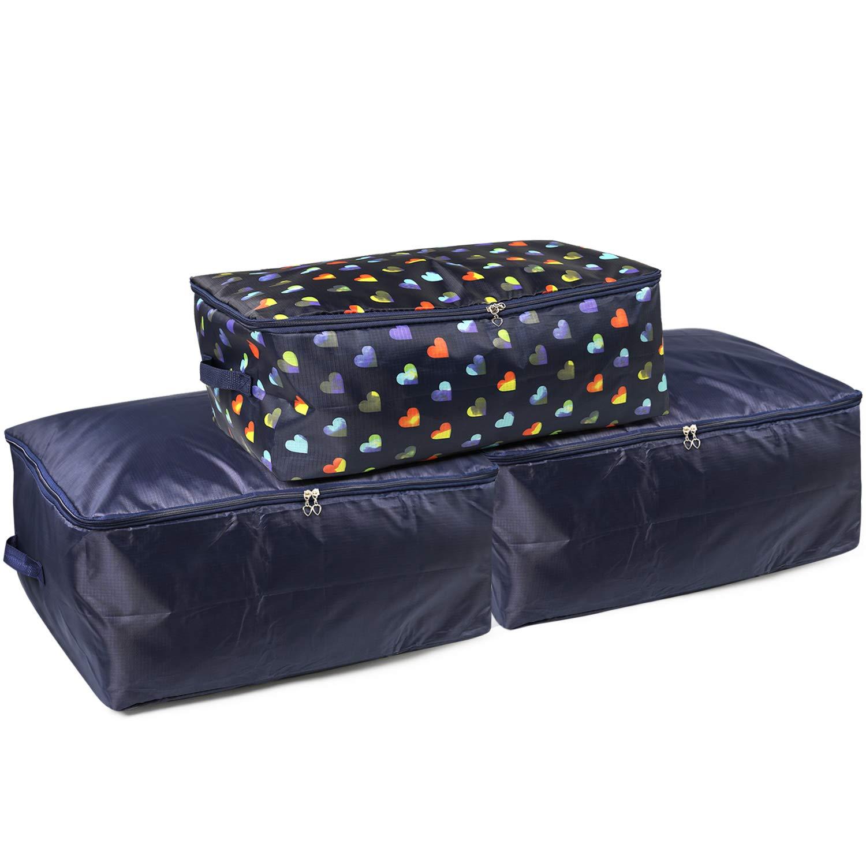 Almohadas LinStyle Bolsas de Almacenamiento Ropa de Cama Mantas Azul Marino Edredones 3 Piezas Suave Plegables Bolsa Organizador de Armarios para Guardar la Ropa