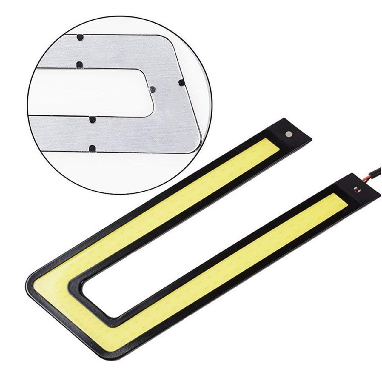 lumi/ère blanche Voiture LED Ultra-mince en U Super Bright COB Feu de jour universel Feu de jour /étanche pour v/éhicule automobile
