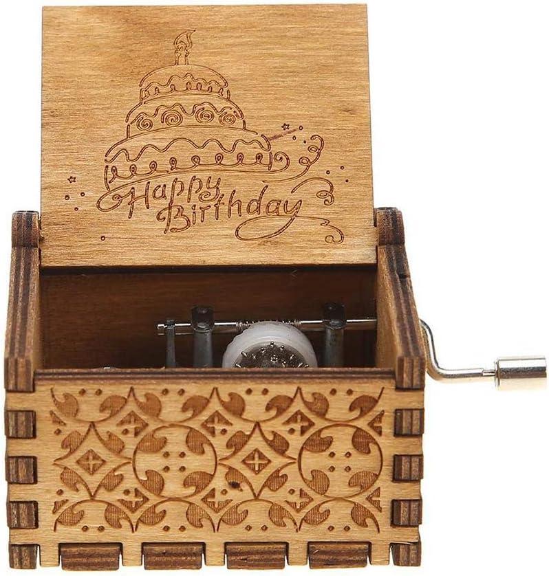 Cadeaux Exquis pour Vacances de f/ête danniversaire Artisanat Home D/écoration CJMING Bo/îte /à Musique en Bois Bo/îte /à Musique en Bois /à manivelle sculpt/é Vintage Joyeux Anniversaire