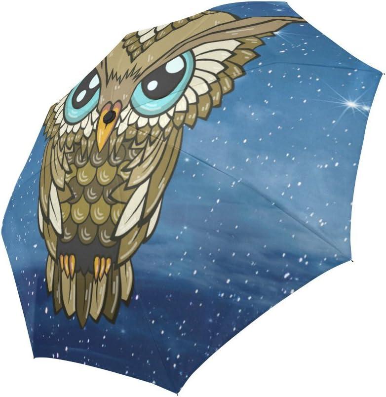 Galaxy Owl Windproof Rainproof Automatic Foldable Umbrella,Travel Umbrella Compact Sun//Rain Hot-selling