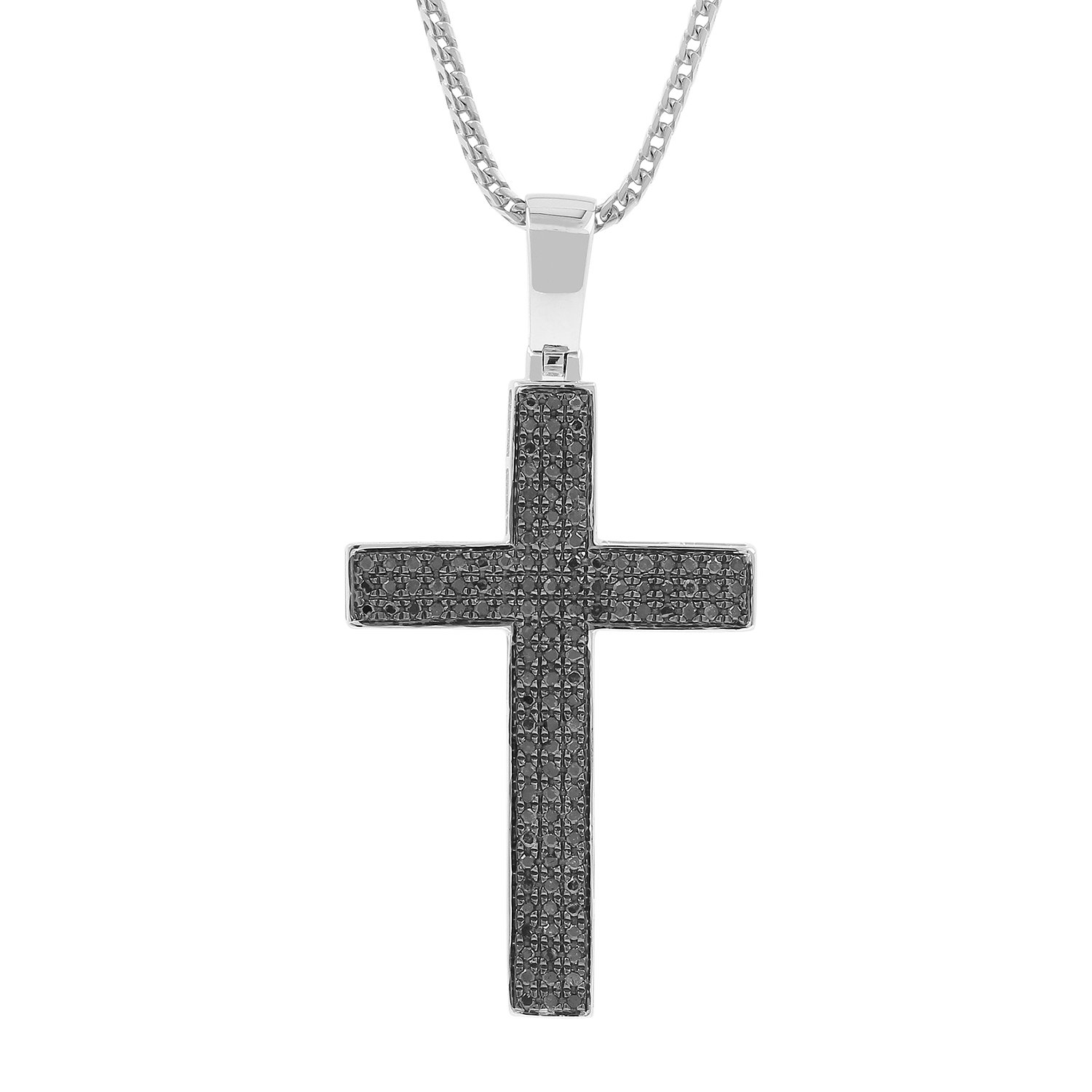 0.54ct Black Diamond Pave 3 Row Mens Hip Hop Cross Pendant Necklace in 925 Silver