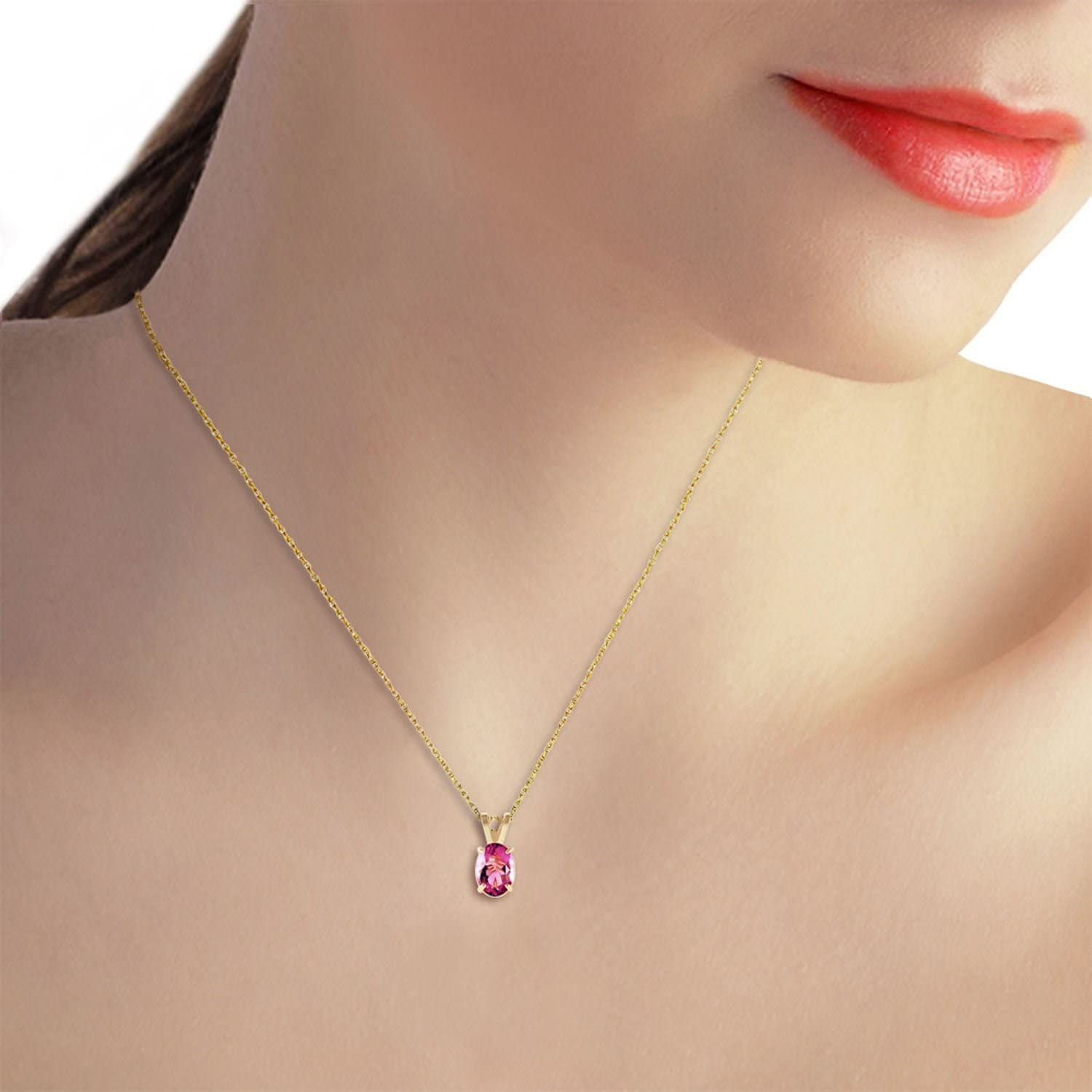 ALARRI 0.85 Carat 14K Solid Gold Heart Asks Mind Pink Topaz Necklace with 22 Inch Chain Length