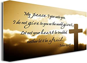 "FRAMED CANVAS PRINT My peace I give unto you, I do not give to you as the world gives, Let not your heart be troubled, neither let it be afraid John 14:27 religious (22""x12"")"