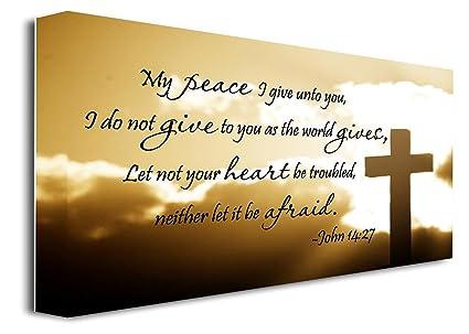 amazon com framed canvas print my peace i give unto you i do not
