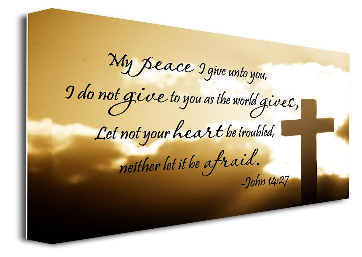 FRAMED CANVAS PRINT My peace I give unto you, I do not give to you as the world gives, Let not your heart be troubled…
