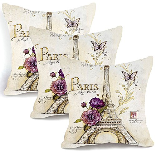 OJIA Retro Vintage Sketch Eiffel Tower Purple Flower Home 18