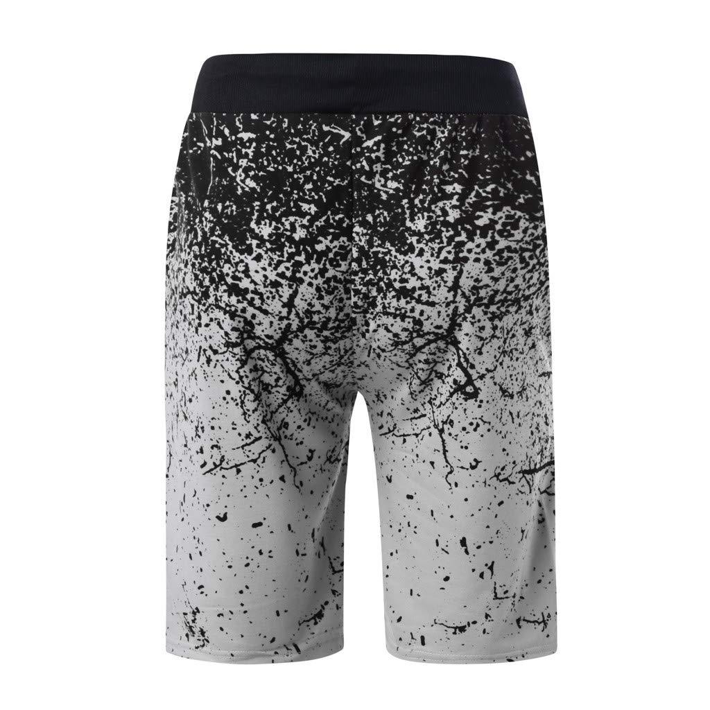 beautyjourney Shorts Deportivos para Hombres Pantalones Cortos de Entrenamiento gradiente Pantalones Cortos de Fitness de Verano con Basculador Shorts ...