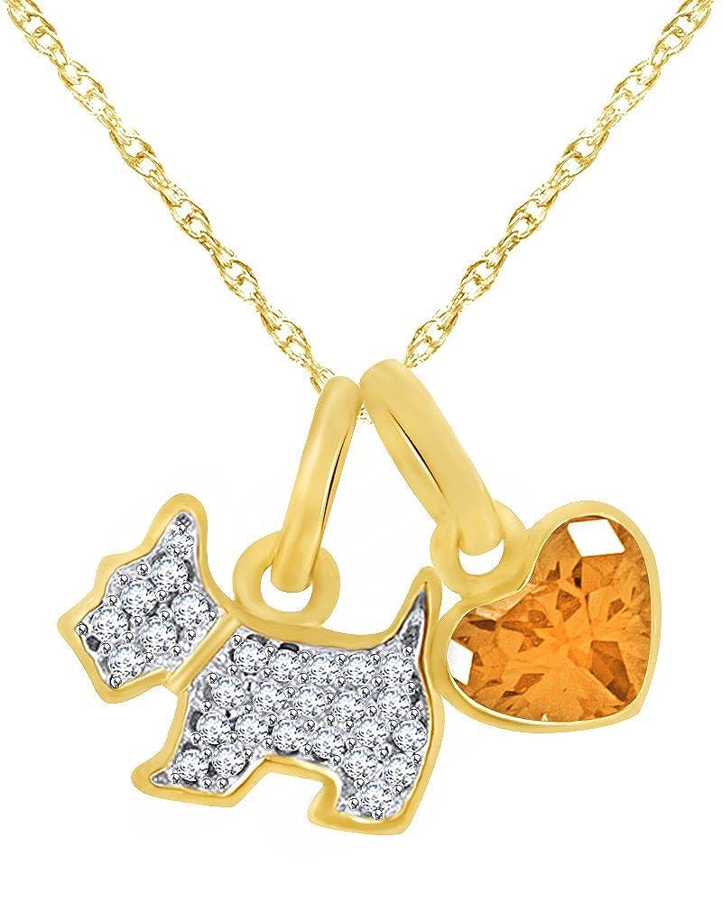 Wishrocks Simulated Garnet Cute Puppy Dog Pendant Necklace 14K Rose Gold Over Sterling Silver