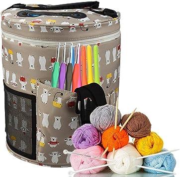 Bolsa de punto para guardar lana, bolsa de punto para agujas de tejer, hilos, tejidos, accesorios de ganchillo y accesorios de punto para lana, peonía, Gris: Amazon.es: Bricolaje y herramientas