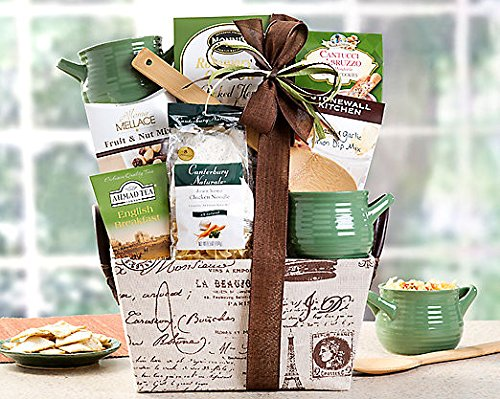 Gourmet Foods Gift Baskets, Soup's On, This Delicious Gift Is Fun to Give and so Easy for Your Recipients to Serve and Enjoy. Hearty Chicken Noodle Artisan Soup Mix with Old-fashioned Homemade Flavor and Plenty of Noodles Will Take the Chill Out of a Cold Winter Day. Nonni's Rosemary Olive Oil Crackers, Almond Cookies, Dried Fruit and Nuts, Roasted Garlic and Onion Dip Mix and English Breakfast Tea Are the Perfect Complements. Two Oversized Soup Bowls and a Bamboo Soup Spoon Complete This Carefree Assortment That Will Be Welcome in Any Home or Kitchen. Gift Size: 12