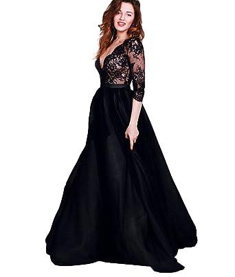 Dressesonline Womens V Neck Prom Dresses Long Sleeves Black Lace Formal Evening Dress 2