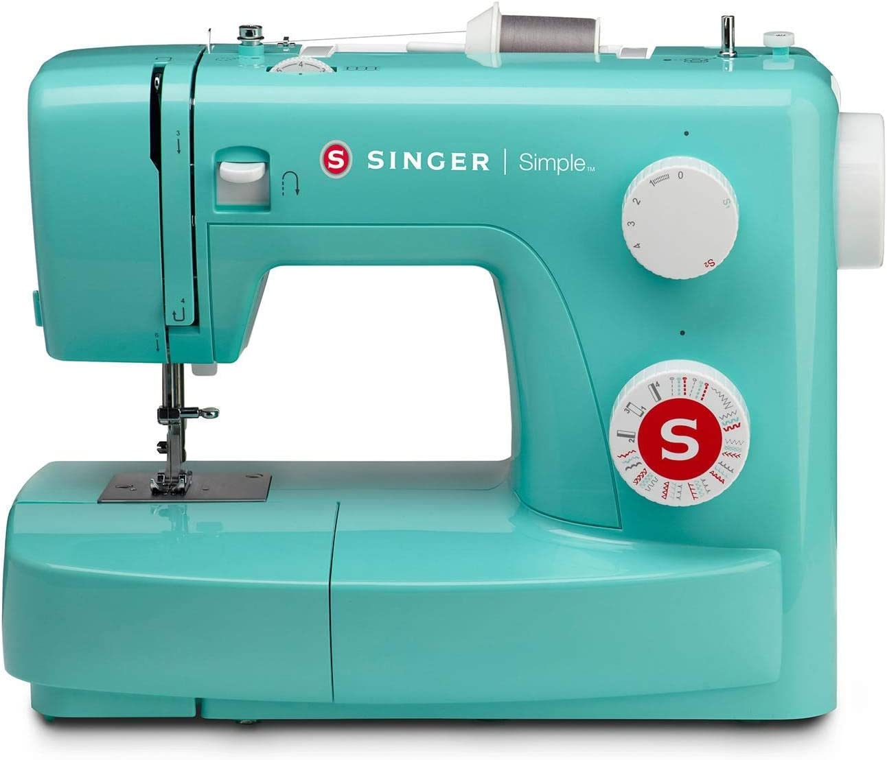SINGER Simple 3223G - Máquina de coser (Turquesa, Máquina de coser semiautomática, Costura, Paso 4, Giratorio, Zigzag)