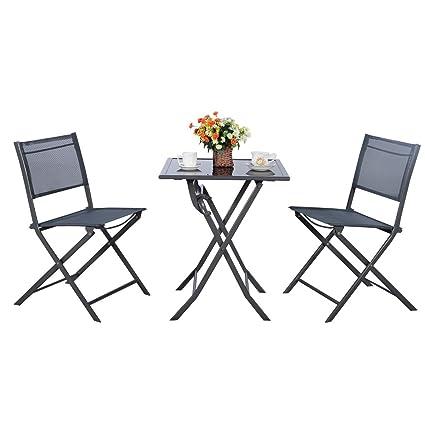 TANGKULA Outdoor Patio Bistro Set Foldable Chairs U0026 Table For Backyard Lawn  Balcony Pool Outdoor Modern