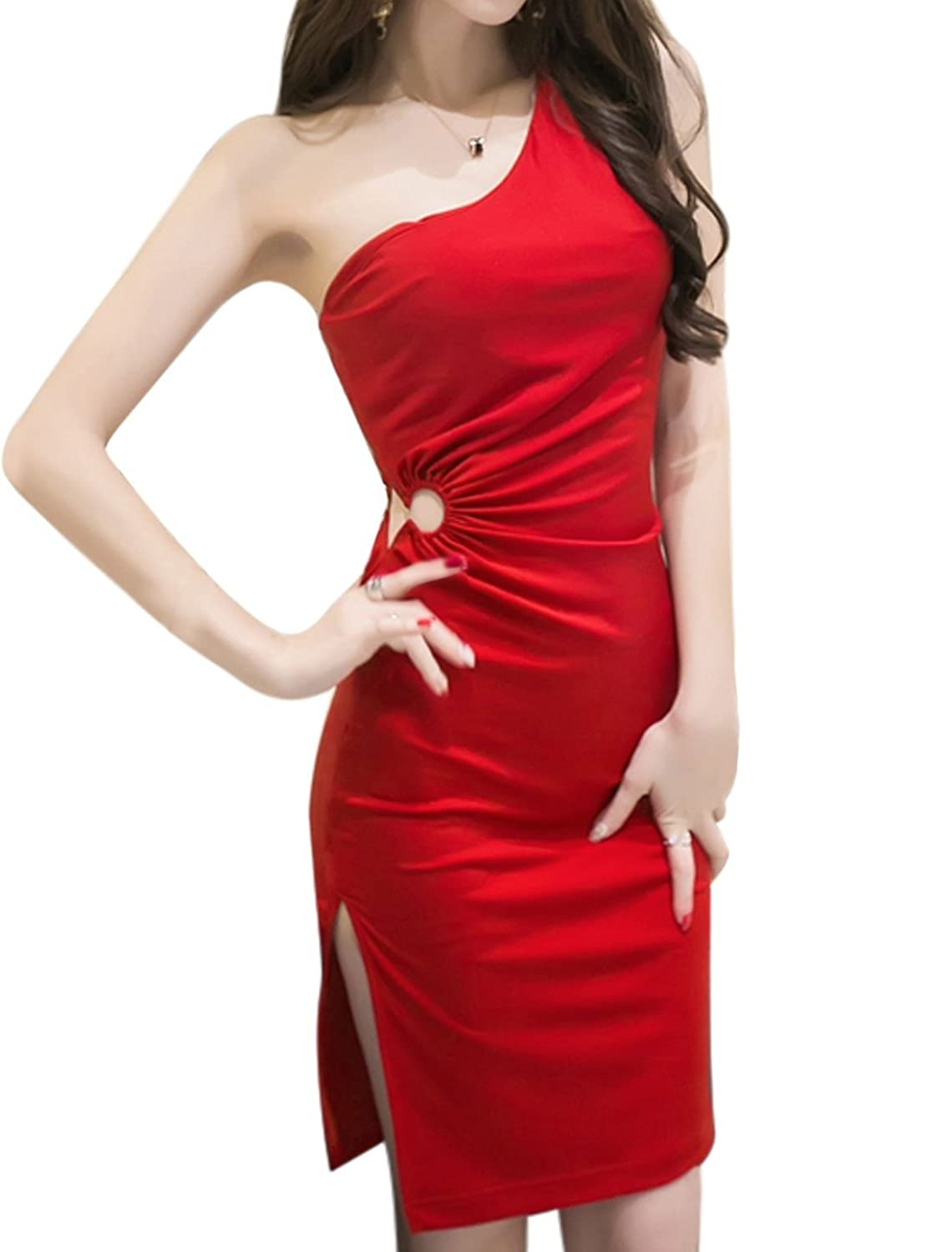uxcell Women One Shoulder Split Side Bodycon Dress
