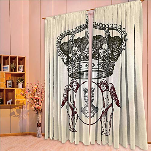 ZHICASSIESOPHIER Finel Kids Curtains for Living Room Bedroom Window Curtains Baby Room Lovely Children Curtains Drapes,Design Art with Crest Badge Medallion Angel Royal, 108Wx90L Inch ()