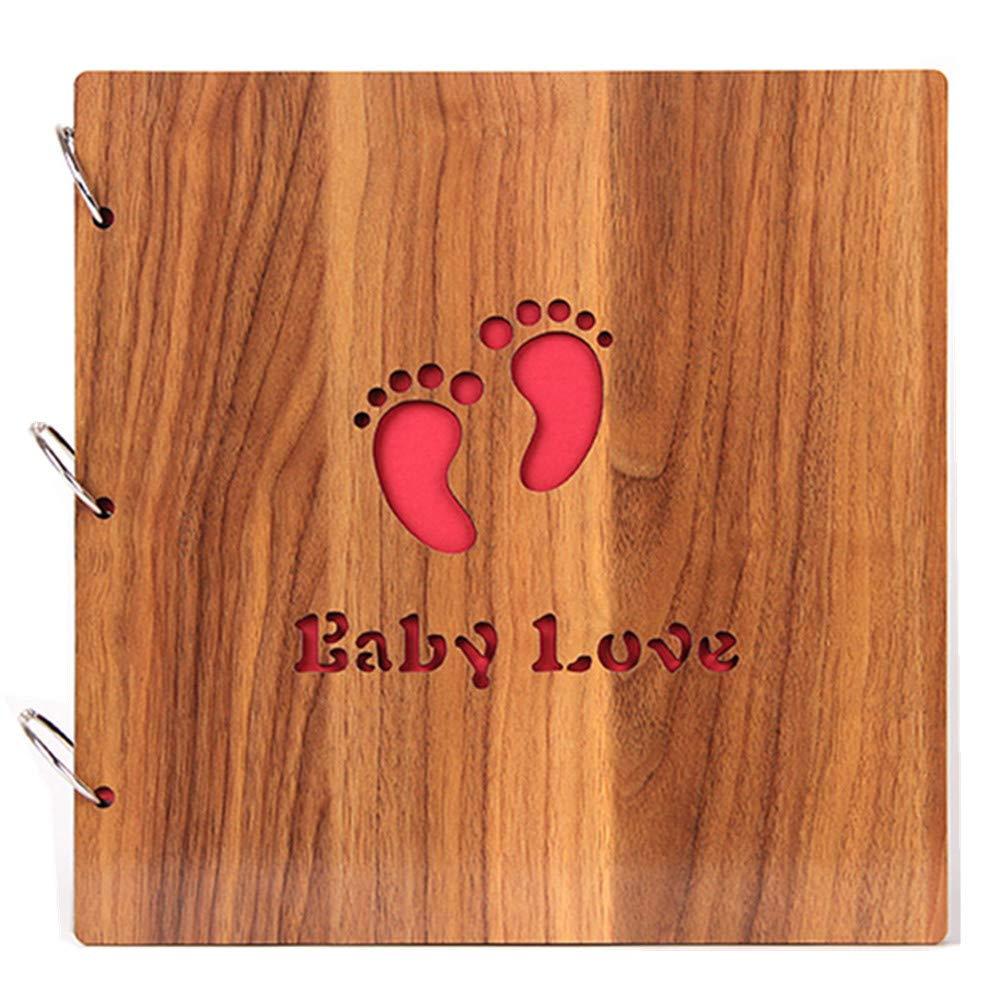 B&S FEEL Handmade DIY Wooden Cover Photo Album, Scrapbook Vintage Photo Album Baby Footprint Printed Surface