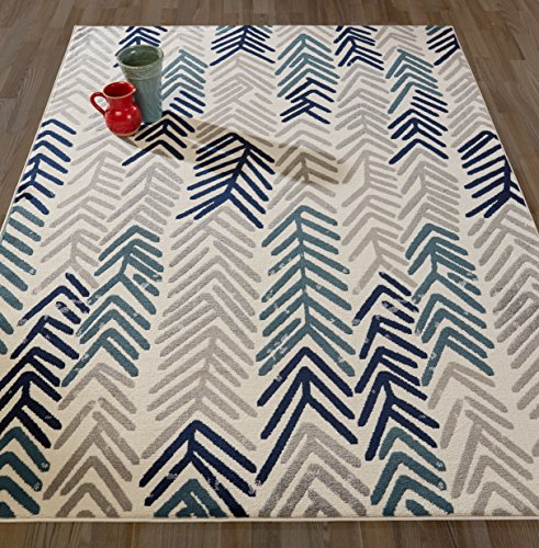 Diagona Designs Contemporary Floral Design Modern Area Rug, Ivory/Navy/Gray/Teal, 94