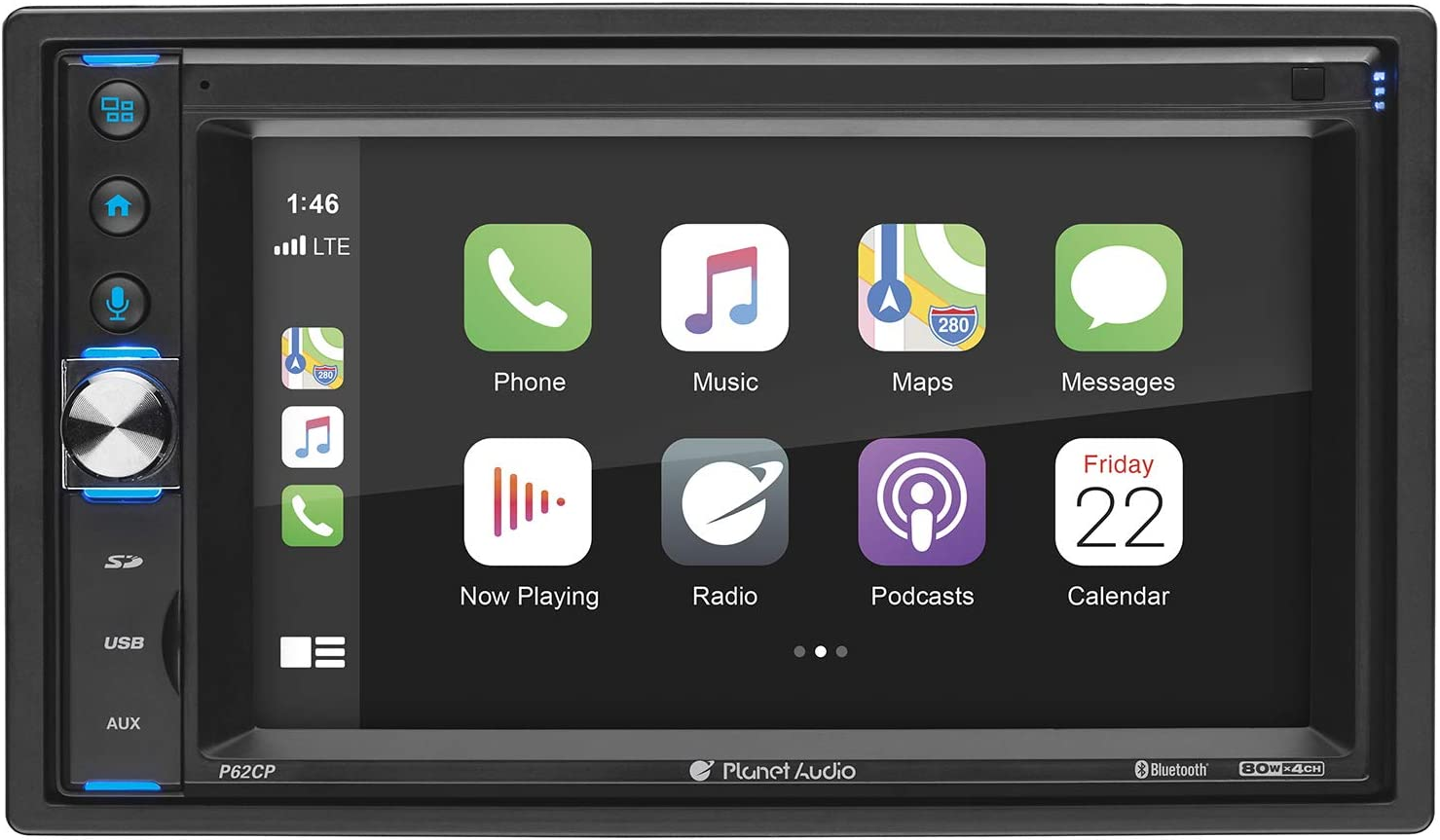 Planet Audio P62CP Apple CarPlay Car Multimedia Player - Double Din, Bluetooth Audio and Calling, 6.2 Inch LCD Touchscreen, USB, SD, Aux in, AM/FM Radio, No CD DVD Player