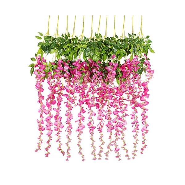 Luyue 3.18 Feet Artificial Silk Wisteria Vine Ratta Silk Hanging Flower Wedding Decor, 12 Pieces (Fuchsia)