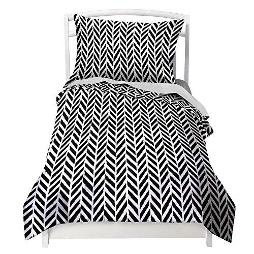 Black And White Herringbone (Twin Black and White Duvet Cover Herringbone Design with Pillowcase by Where The Polka Dots Roam)