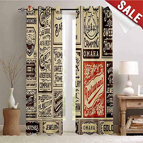 Hengshu Antique Drapes for Living Room Mega Pack Old Advertisement Designs Labels Collections Newspaper Nostalgia Window Curtain Fabric W84 x L108 Inch Cream Brown Orange