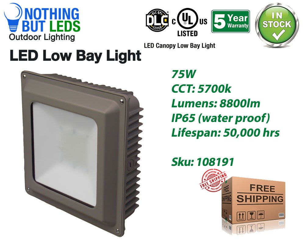 75W LED Canopy Low Bay Outdoor Light, 5700K, 8800lm, UL&DLC Qualified, IP65 Internal Driver, View Angle 120°, Input Voltage 100-277VAC, Long Lifespan, 5 Years Warranty.