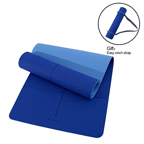 Jelsyoga Classic Yoga Mat - Extra Wide 26 Inch Upgrade Eco-Friendly TPE All-Purpose Odorless Strong Grip Floor Non-Slip Easy Clean with Carrying Strap ...