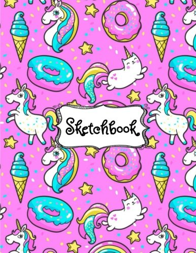 Sketchbook: Cute Unicorn Kawaii Sketchbook for Girls: 100+ Pages of 8.5''x11'' Blank Paper for Drawing, Doodling or Sketching (Sketchbooks For Kids) (Volume 1)