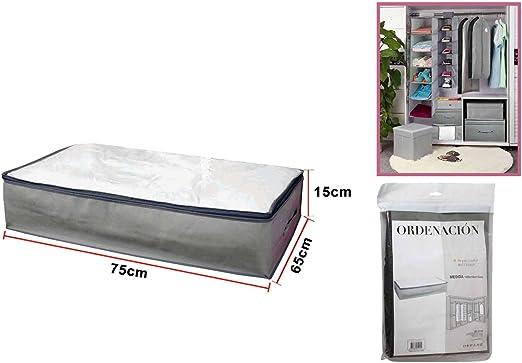 Dabuty Online, S.L.. Caja Organizador de Ropa, Toallas, sabanas, Zapatos etc… con Cremallera y Ventana, Color Gris. Resistente. Tamaño 75x15x65cm: Amazon.es: Hogar