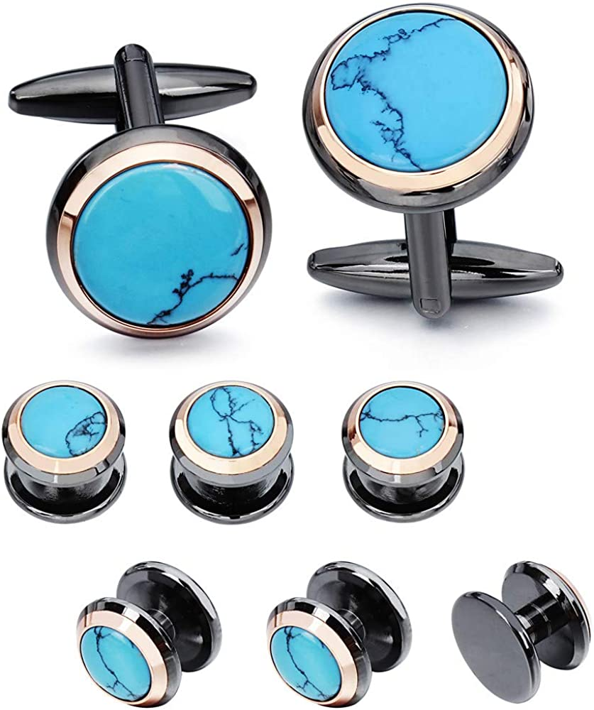 HAWSON Cuff Links Tuxedo Studs Set for Men - Best Gifts for Wedding, Formal Events