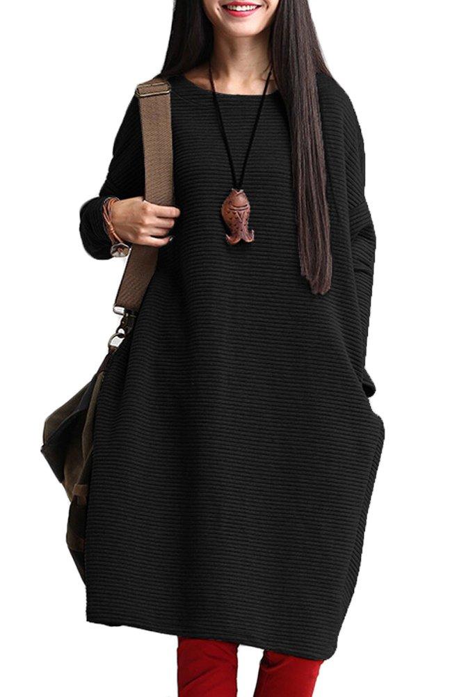 Mordenmiss Womens Loose Fit Bat Sleeve Basic Tops Dresses BlackOne Size