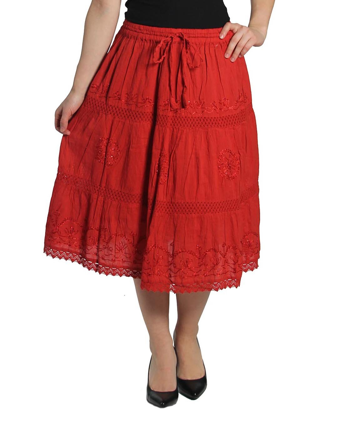 KayJay Styles Solid Color Bohemian Hippie Belly Gypsy Short Cotton Mid Length Skirt (Red) One Size