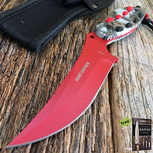 """Hunt-Down 8"""" Red Hunting Hunting Tactical Fixed Blade Sharp Knife With Woodland Camo Handle/Black Red paracord + Free eBook By SURVIVAL STEEL"""