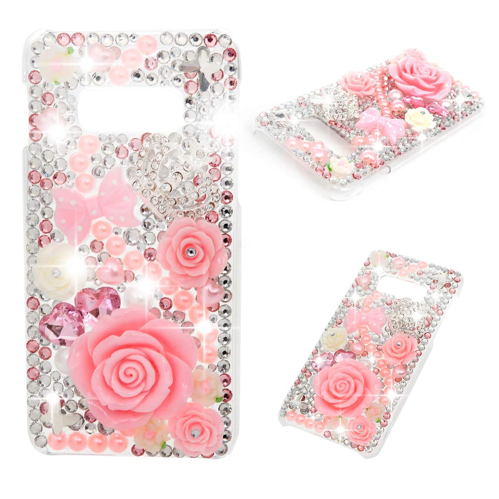 Mavis's Diary Galaxy S10E Case 3D Handmade Crystal Clear Bling Diamonds Shiny Rhinestone Pearl Pink Soft Peach Blossom Hard PC Cover for Samsung Galaxy S10E by Mavis's Diary