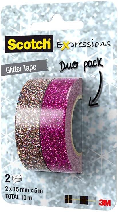 Scotch C514-2PACK Expression Pack duo Ruban paillet/é Rose