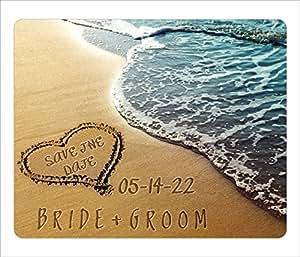 BleuReign(TM) Personalized Custom Destination Beach Wedding Bride Groom Heart Sand Save The Date Announcement Square Refrigerator Fridge Magnet Set Of 25