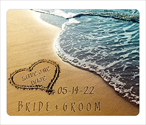 BleuReign(TM) Personalized Custom Destination Beach Wedding Bride Groom Heart Sand Save The Date Announcement Square Refrigerator Fridge Magnet Set Of 25 -