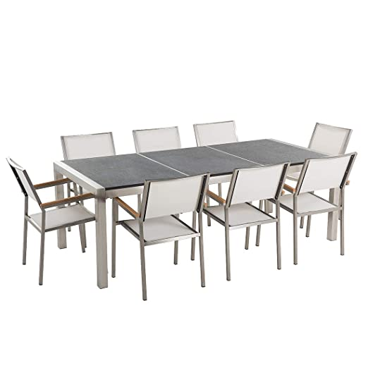 Beliani Table de Jardin Acier INOX Plateau Granit Triple ...