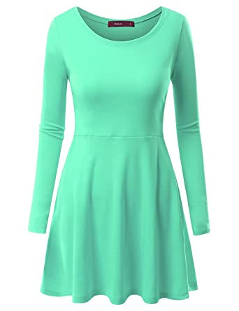 09b96b3487 Doublju Round Neck Flared Skater Tunic Dress for Women with Plus Size Mint  X-Small
