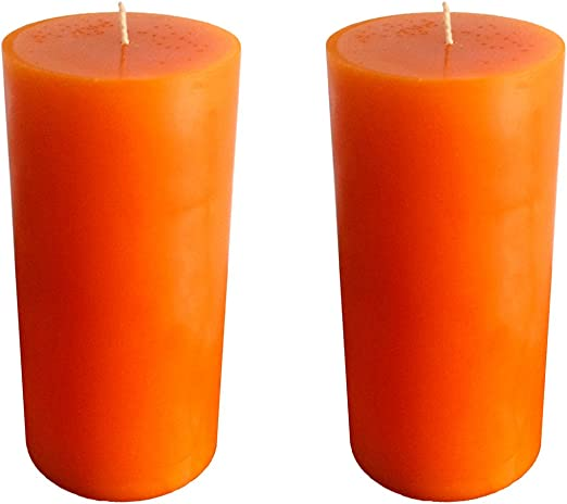 Collumino®® - Velas Grandes (120 Horas, 15 x 7 cm), Color Liso, Naranja, 2 - Pack: Amazon.es: Hogar