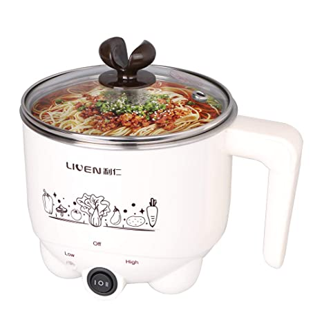 db2dcc07936d 1L Liven Electric Hot Pot with 304 Stainless Steel Healthy Inner Pot, Cook  Noodles and Boil Water Eggs Easy,Small Electric Cooker 600W 120V HG-X1007